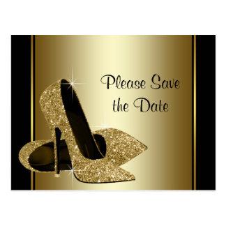Schwarzes und Goldhohe Fersen-Schuh Save the Date Postkarte