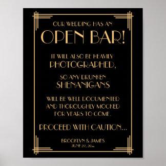 Schwarzes und Goldkunst-Deko Gatsby offenes Bar Poster