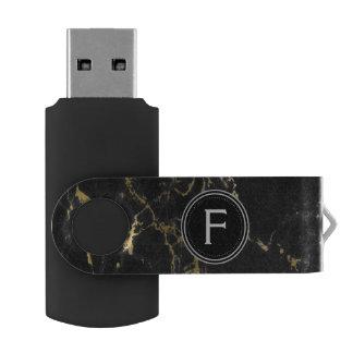 Schwarzes und Goldmarmormonogramm USB Stick
