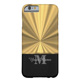 Schwarzes und Goldmetallisches Monogramm Barely There iPhone 6 Hülle