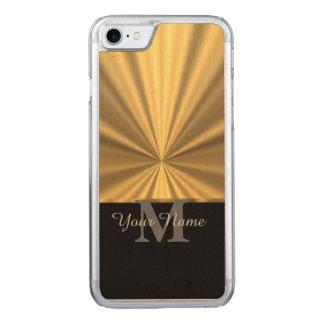 Schwarzes und Goldmetallisches Monogramm Carved iPhone 7 Hülle