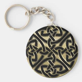 Schwarzes und Goldmetallkeltischer Knoten Keychain Schlüsselanhänger