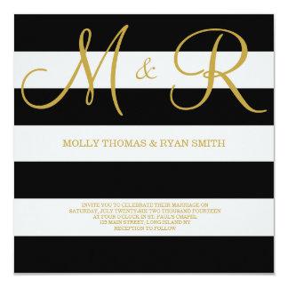 Schwarzes und Goldmonogramm-Hochzeits-Einladung Quadratische 13,3 Cm Einladungskarte