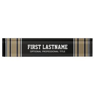 Schwarzes und Goldsport-Jersey-Name - kann Namensplakette
