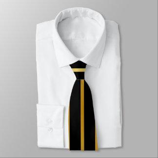 Schwarzes und Goldstreifen Krawatte
