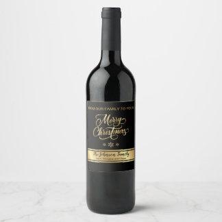Schwarzes und Goldweihnachtswein-Aufkleber Weinetikett