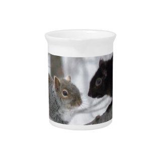 Schwarzes und graues Eichhörnchen Getränke Pitcher