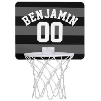 Schwarzes und graues silbernes Rugby Stripes Mini Basketball Netz