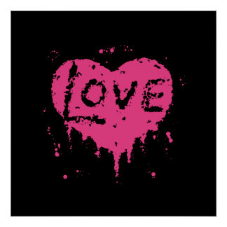 Schwarzes und heißes Rosa der PunkLiebehitze Poster