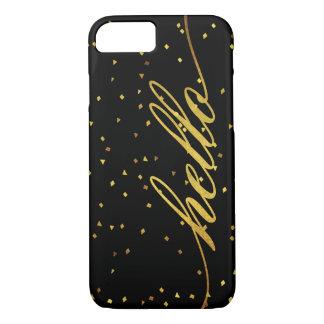 Schwarzes und Imitat-Goldhallo Glitter iPhone 7 Hülle