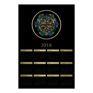 Schwarzes und Kalender der Goldkeltischer Poster