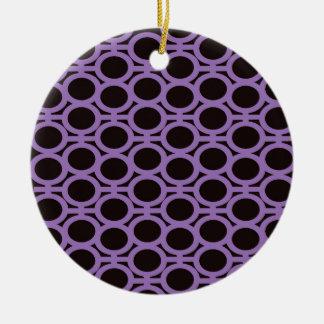 Schwarzes und Lavendel-Blasen-Ösen Rundes Keramik Ornament