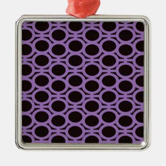 Schwarzes und Lavendel-Blasen-Ösen Quadratisches Silberfarbenes Ornament
