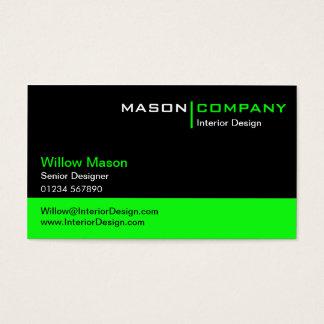 Schwarzes und Limone grüne Visitenkarte