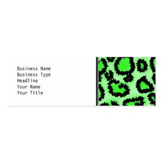 Schwarzes und Limones grünes Leopard-Druck-Muster Mini-Visitenkarten