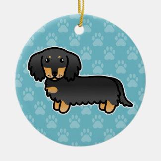 Schwarzes und Mantel-Dackel-Cartoon-Hund TANs Keramik Ornament