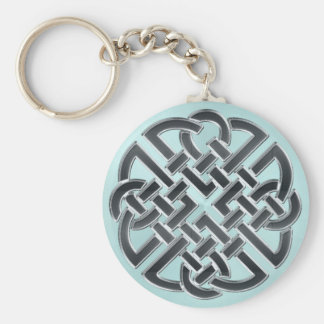 Schwarzes und metallisches Aqua-keltischer Knoten Schlüsselanhänger