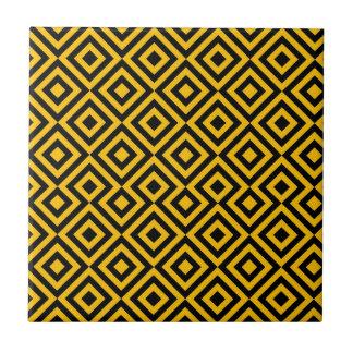 Schwarzes und orange Muster des Quadrat-001 Fliese
