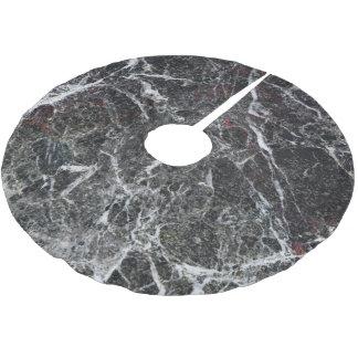 Schwarzes und Rauch-graue Marmorbeschaffenheit Polyester Weihnachtsbaumdecke
