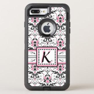 Schwarzes und rosa Damast-Monogramm OtterBox Defender iPhone 8 Plus/7 Plus Hülle