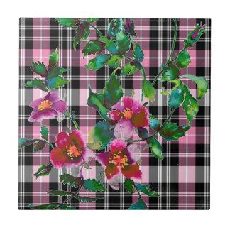 Schwarzes und rosa kariertes der Vintagen Rose - Fliese