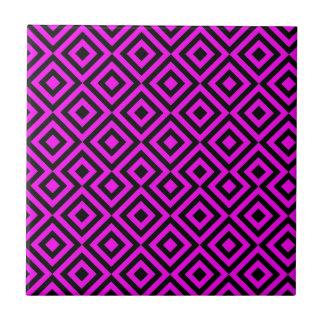 Schwarzes und rosa Muster des Quadrat-001 Fliese