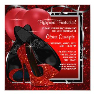 Schwarzes und rotes hohes Heels-Geburtstags-Party Quadratische 13,3 Cm Einladungskarte