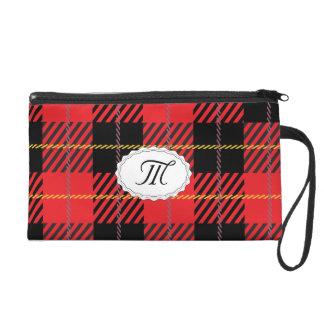 Schwarzes und rotes kariertes wristlet handtasche