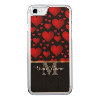 Schwarzes und rotes Monogramm-Liebe-Herzmuster Carved iPhone 7 Hülle