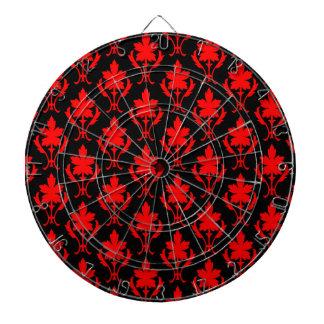 Schwarzes und rotes verziertes Tapeten-Muster Dartscheibe