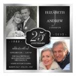 Schwarzes und Silber-25. Hochzeitstag Individuelle Einladung