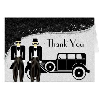 Schwarzes und Silber-homosexuelle Hochzeit danken Grußkarte