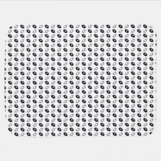 Schwarzes und silbernes Grau-Fußball-Muster Babydecke