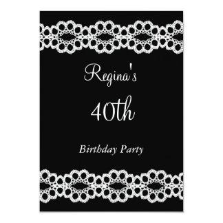 Schwarzes und Spitze-40. Geburtstags-Party 12,7 X 17,8 Cm Einladungskarte