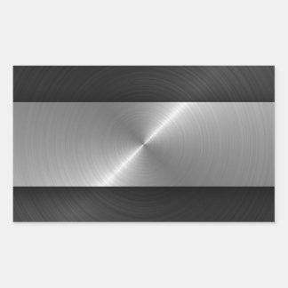 Schwarzes und Stahl Rechteckiger Aufkleber