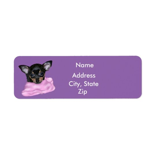 Schwarzes und TAN-Chihuahua-Welpe Rückversand-Adressaufkleber