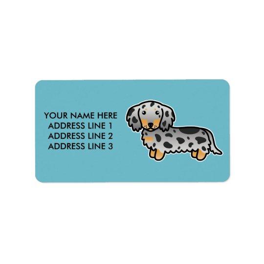 Schwarzes und TAN Dapple langen Mantel-Dackel-Hund Adressaufkleber