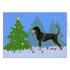 Schwarzes und TANCoonhound, der Weihnachtsbaum Karte