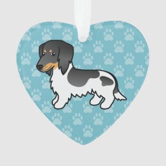 Schwarzes und TANpiebald-langer Mantel-Dackel-Hund Ornament