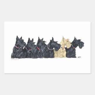 Schwarzes und Wheaten schottische Terrier Rechteckiger Aufkleber