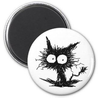 Schwarzes Unkempt Kätzchen Runder Magnet 5,7 Cm