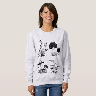Schwarzes vieler Pilze auf Weiß Sweatshirt