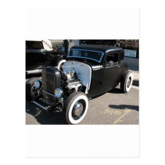 Schwarzes Vintages frisiertes Auto Postkarte