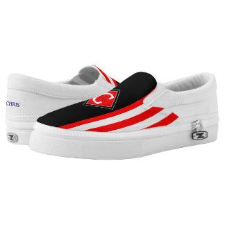 Schwarzes vorderes Rot Stripes Monogramm (cust.) Slip-On Sneaker