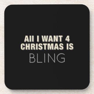 Schwarzes Weihnachten Bling Untersetzer