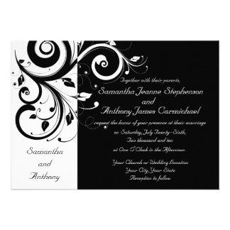 Schwarzes + Weiße Personalisierte Einladungskarten