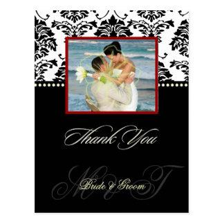 Schwarzes +  Weißer Damast danken Ihnen Postkarte
