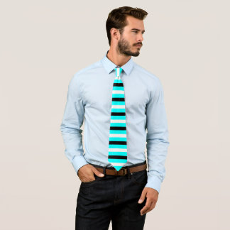 Schwarzes, weißes, cyan-blaues Streifen-Muster Krawatte