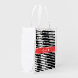 Schwarzes weißes Hahnentrittmuster-korallenrotes Wiederverwendbare Einkaufstaschen