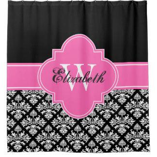 Schwarzes weißes Pink-Monogramm Fahrwerk-Damast-#3 Duschvorhang
